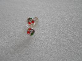 Kleiner Ohrstecker Kirschen Silber mit Motivprint