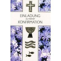 Konfirmationseinladungskarten Blaue Blüte