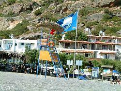 Der Strand der Agia Fotia ist ausgezeichnet mit der ''Blauen Flagge''