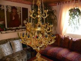 Kronleuchter Lüster Schlossbeleuchtung, ca1920 Blattgold