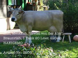 Kuh, Melkkuh, ''Gretel von der Alm'', #Braunvieh, #1 Tank 20 Liter, 220cm / HAEIGEMO  Artikel-Nr.: 2203