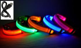 LED Leuchthalsband, Hundehalsband, Halsband aufladbar, mit Akku und USB-Kabel