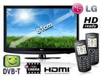 LG 32LD320 81 cm (32 Zoll) LCD TV mit Vertrag+2x Samsung E1170 schwarz+o2 Inklusivpaket Duo