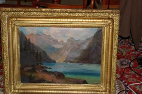 Foto 3 Landschafts-Gemälde, 2 Stück, sogenannte Pendants