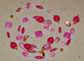 Foto 2 Lange Kette, Y - Kette, pink, rosa - weiß