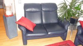 Foto 3 Ledergarnitur 3-er + 2-er +Sessel + Hocker