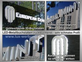 Foto 31 Leuchtreklame für Gewerbeimmobilien Werbekästen Leuchtkästen Leuchtschilder Leuchtbuchstaben Berlin 3D Plexibuchstaben mit LED Beleuchtung beleuchtete Einzelbuchstaben Schriftzüge Außenwerbung Lichtreklame Kassel