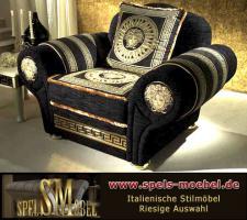 Luxus Möbel Sessel Polstermöbel Wohnzimmer Royale Moonlight Italienische Klassische Stilmöbel