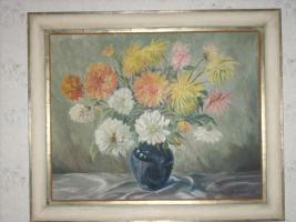 M. Herterich ''Blumenvase mit Sommerblumen (Dahlien)''
