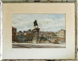 MeisterGemälde OTTO GÜNTHER-NAUMBURG, Reiterstatue in Venedig um 1890!!