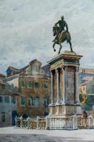 Foto 2 MeisterGemälde OTTO GÜNTHER-NAUMBURG, Reiterstatue in Venedig um 1890!!