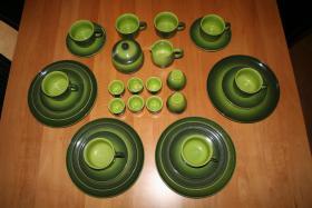 Melita Kaffeeservice Burgund grün Steingut