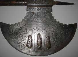 Foto 2 Mittelalterliche Streitaxt mit Einfachblatt verziert als Wanddeko