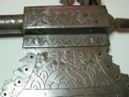 Foto 7 Mittelalterliche Streitaxt mit Einfachblatt verziert als Wanddeko