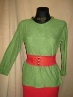 Modern * weich * Original VINTAGE * DESIGNER * Froteé * Pullover * Sweater * Sweat Shirt * Gr. 38- 40/ S- M * pistazien- grün *