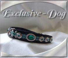 Foto 2 Mops Lederhalsband Strasshalsband mit SWAROVSKI ELEMENTS Hundehalsband Unikat by EXCLUSIVE-DOG Leder Hunde Halsbänder