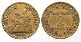 Münze von 1922 der Handelskammer 2 Franc