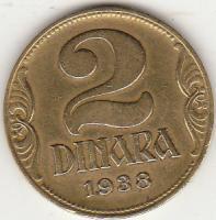 Münze 2 Dinara Königreich Jugoslawien