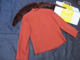 Foto 4 NEU mit ETIKETT * Edel * Anzug * Kostüm * Business * Schurwolle * BLAZER mit Fake Fur * Schal * Pelz-Kragen ''BIBA by ESCADA'' Original * Gr. 40/ M * terra * dunkel- braun *