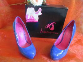 Foto 2 NEU OVP im Karton* Lack- Leder * High- Heels * Stilettos * Plateau * Pumps * Schuhe ''Daniela Katzenberger'' Gr. 38/ 5 royal- königs- blau *
