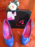 Foto 4 NEU OVP im Karton* Lack- Leder * High- Heels * Stilettos * Plateau * Pumps * Schuhe ''Daniela Katzenberger'' Gr. 38/ 5 royal- königs- blau *
