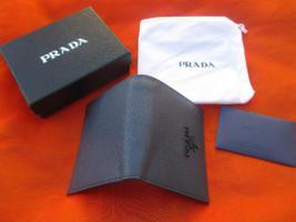 Foto 4 NEU in Original Box mit Zertifikat * Echt Leder * GELDBEUTEL * GELDBÖRSE * PORTEMONNAIE ''PRADA'' Original * marine- dunkel- blau *
