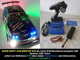 NEUES-SHOW DRIFT CAR BRUSHLESS RTR 1/10er 4WD 2,4GHz Fernst.Lipo Akku, Lipo Lader -120 KMH
