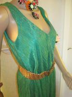NEU * 20er Jahre Style * Pliseè- Falten * Lurex Glitzer * Cocktail * Abend * Etui- Kleid ''ESPRIT'' Gr. 40- 42/ M * smaragd- grün * gold *