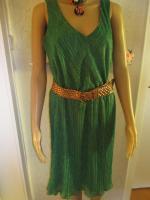 Foto 3 NEU * 20er Jahre Style * Pliseè- Falten * Lurex Glitzer * Cocktail * Abend * Etui- Kleid ''ESPRIT'' Gr. 40- 42/ M * smaragd- grün * gold *