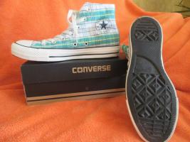 NEU * Ausgefallen * stylisch * Karo * Chucks Stoff- Schuhe Sneaker ''Converse All Star'' Gr. 39/ 6 * grün * RAR