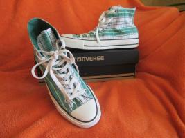 Foto 4 NEU * Ausgefallen * stylisch * Karo * Chucks Stoff- Schuhe Sneaker ''Converse All Star'' Gr. 39/ 6 * grün * RAR