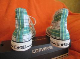 Foto 5 NEU * Ausgefallen * stylisch * Karo * Chucks Stoff- Schuhe Sneaker ''Converse All Star'' Gr. 39/ 6 * grün * RAR