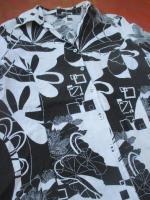 Foto 2 NEU * Edel * Blumen * Blüten * Flower- Power * 100% Leinen * Langarm * Hemd- Bluse ''SIXTHSENSE'' Gr. 42/ M * schwarz- weiss * black and withe *
