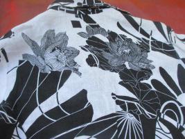Foto 3 NEU * Edel * Blumen * Blüten * Flower- Power * 100% Leinen * Langarm * Hemd- Bluse ''SIXTHSENSE'' Gr. 42/ M * schwarz- weiss * black and withe *
