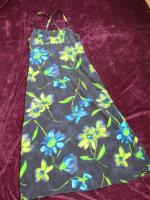 Foto 3 NEU * Edel * Blumen * Blüten * Flower- Power * DESIGNER * Spaghetti-Träger * Maxi * Lang * Long * Kleid * Gr. 36- 38/ S * dunkel- blau * türkis * kiwi- grün *