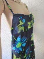 Foto 5 NEU * Edel * Blumen * Blüten * Flower- Power * DESIGNER * Spaghetti-Träger * Maxi * Lang * Long * Kleid * Gr. 36- 38/ S * dunkel- blau * türkis * kiwi- grün *