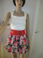 Foto 3 NEU * Romantik * Rosen - Blüten * Flower- Power * Salsa- Style * Mini- Rock ''Abercrombie & Fitch'' Gr. 36- 38/ S * dunkel- blau * pink * bunt *