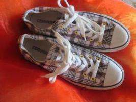 Foto 4 NEU * Stylisch * Gold- Glitzer Karo * Freizeit * Stoff * Chucks * Sneaker * Schuhe ''Converse All Star'' Original * Gr. 38½ * 38,5 / 5½ * 5,5 * schwarz * weiss * RAR *