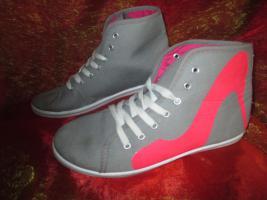 NEU * Stylisch * Sneaker * Chucks * Stoff * Sport * Turn * Schuhe ''Queen Tina'' Gr. 38/ 5 * pink * hell- grau *