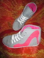 Foto 2 NEU * Stylisch * Sneaker * Chucks * Stoff * Sport * Turn * Schuhe ''Queen Tina'' Gr. 38/ 5 * pink * hell- grau *