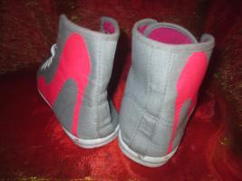 Foto 3 NEU * Stylisch * Sneaker * Chucks * Stoff * Sport * Turn * Schuhe ''Queen Tina'' Gr. 38/ 5 * pink * hell- grau *