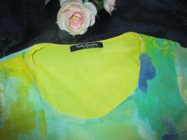 Foto 3 NEU * Stylisch * edel * Grafitti * Tatoo Look * Seiden- Chiffon * Bodycon * Kurzarm * T- Shirt ''Betty Barclay'' Gr. 36- 38 / S * limone gelb * greeny grün *