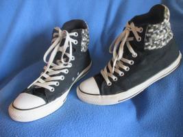 NEUw * Damen oder Herren * Unisex * Stoff * Basket * Freizeit * Chucks * Schuhe mit Karos ''Converse All Star'' Gr. 7½ * 41- 42 * schwarz * grau * Rar *