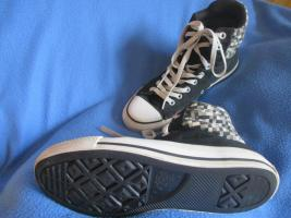 Foto 3 NEUw * Damen oder Herren * Unisex * Stoff * Basket * Freizeit * Chucks * Schuhe mit Karos ''Converse All Star'' Gr. 7½ * 41- 42 * schwarz * grau * Rar *