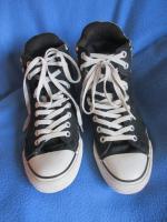 Foto 4 NEUw * Damen oder Herren * Unisex * Stoff * Basket * Freizeit * Chucks * Schuhe mit Karos ''Converse All Star'' Gr. 7½ * 41- 42 * schwarz * grau * Rar *