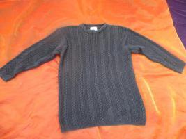 NEUw * Original VINTAGE * Oversize * Baumwolle * Norweger * Zopf * Grobstrick * Long * Pullover * Mini- Kleid ''SUPRISE'' Gr. 40- 42, 44/ M- L * schwarz * Gothic *