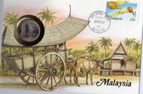 NUMIS BRIEF MIT MÜNZE UND PWZ UND DOKUBLATT MALAYSIA