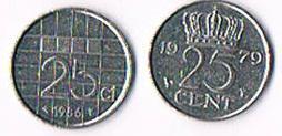 Foto 2 Niederlande 25 Cent Koningin Juliana und Beatrix .
