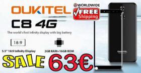 OUKITEL C8 4G Smartphone 18:9 LTPS nur 63€ frei Haus