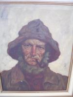 Ölbild Fischer mit Pfeife Künstler Otto Straßmann